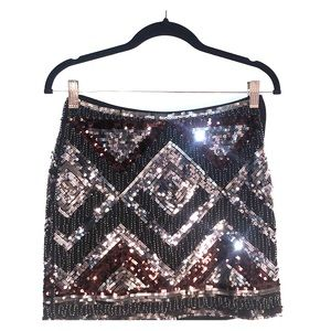 Black and silver sequined skirt